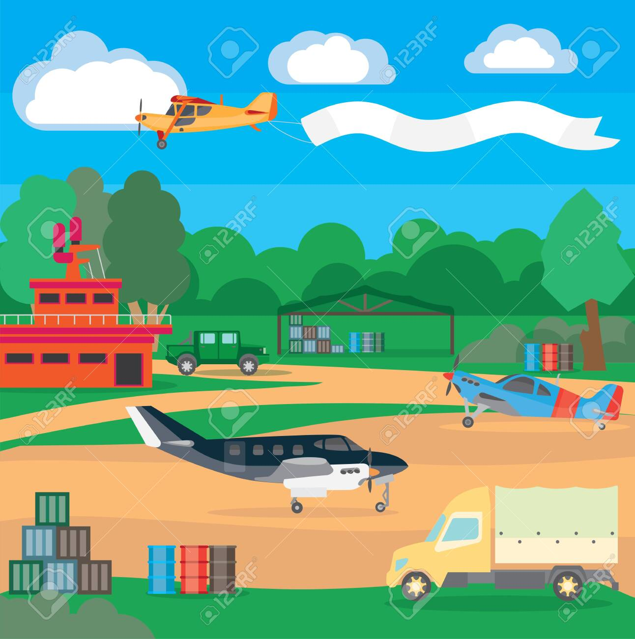 Country airport. Illustration of suburban airfield with equipment and service system, dispatching and locator system. Illustration for travel and recreation. - 130395642