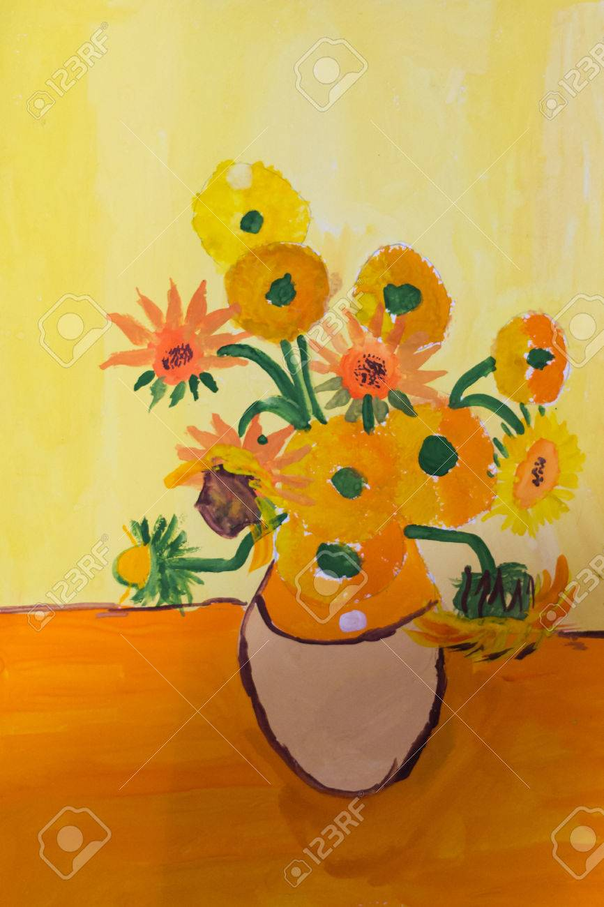 Childs Drawing Of A Vase With Flowers Made Gouache On Paper In Warm Colors Stock