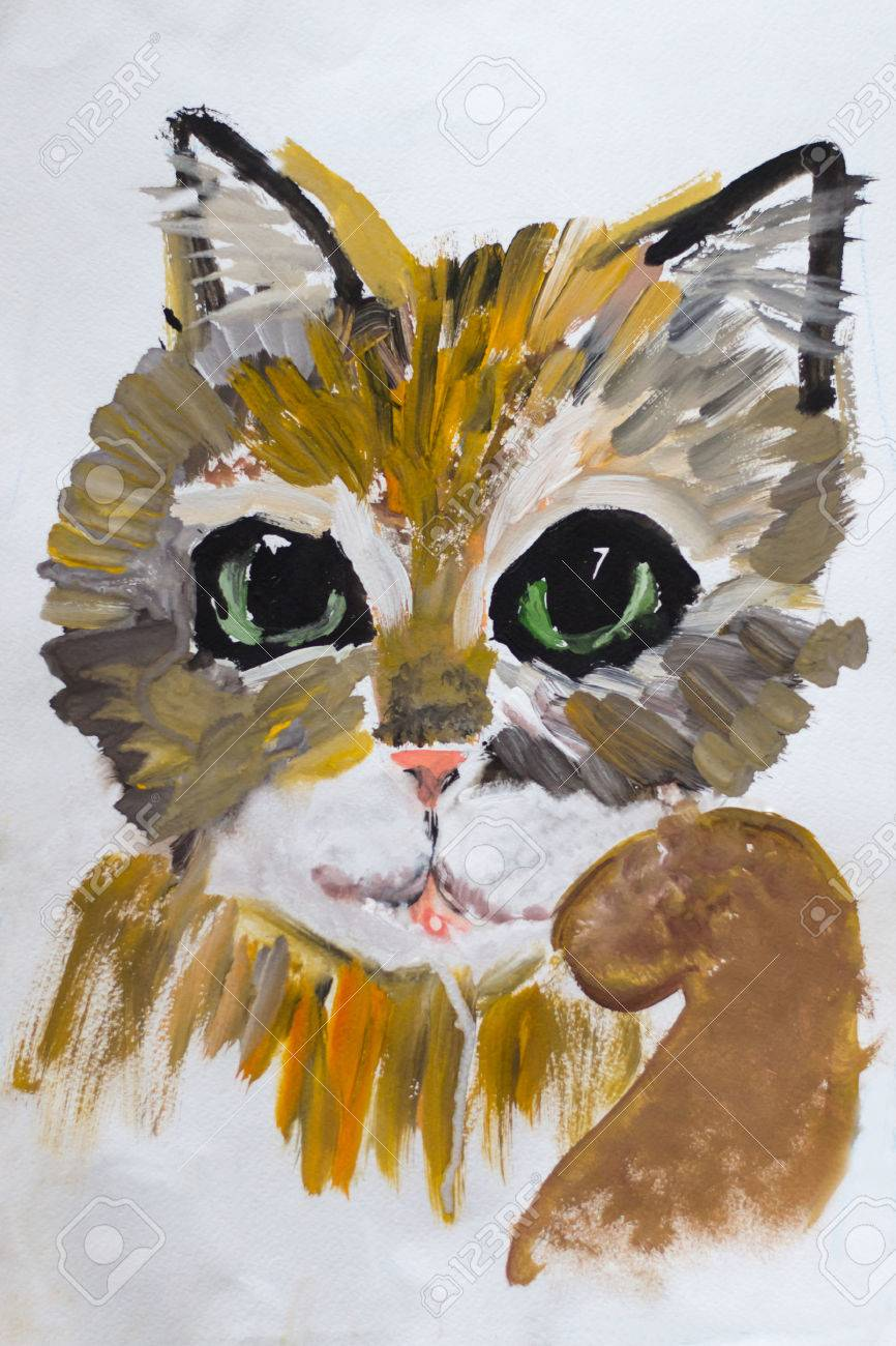 Portrait Of A Childs Drawing Kitten Done In Gouache On Paper Warm Colors