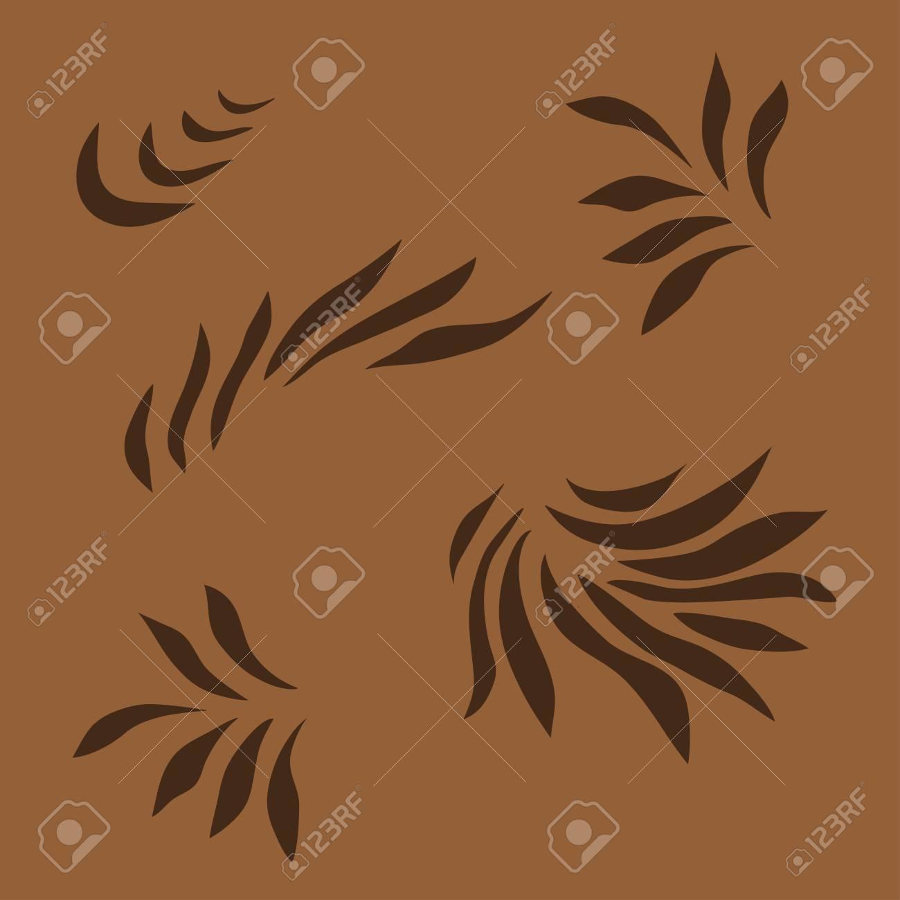 塗装の茶色の抽象的なパターン 波状の背景 花びら 葉 草 炎のよう