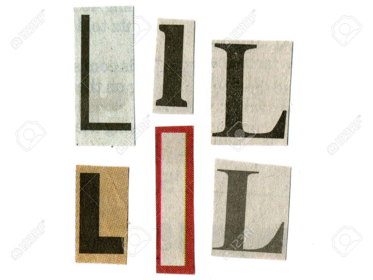 Letter l cut from newsprint paper isolated on white stock photo letter l cut from newsprint paper isolated on white spiritdancerdesigns Images