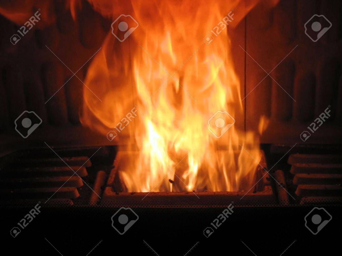 fireplace is burning wood pellets stock photo picture and royalty