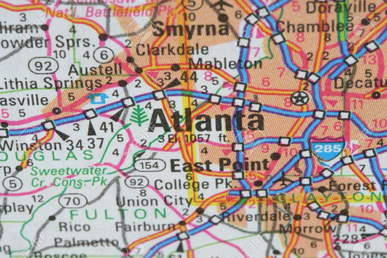 map of atlanta Map of the World