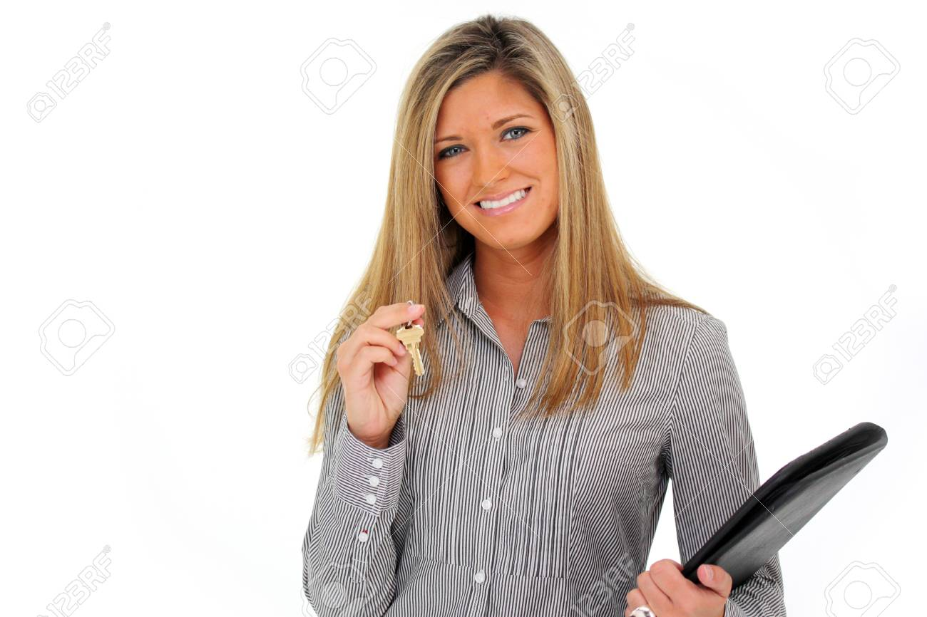 Woman Holding a Set of Keys with a White Background Stock Photo - 13400391