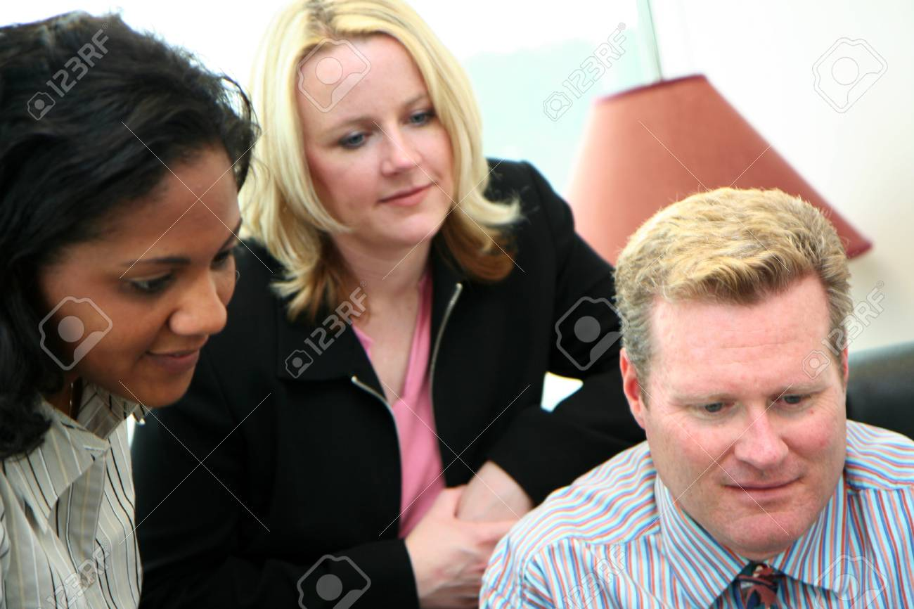 Business Team in an office ready for the work day Stock Photo - 13410648