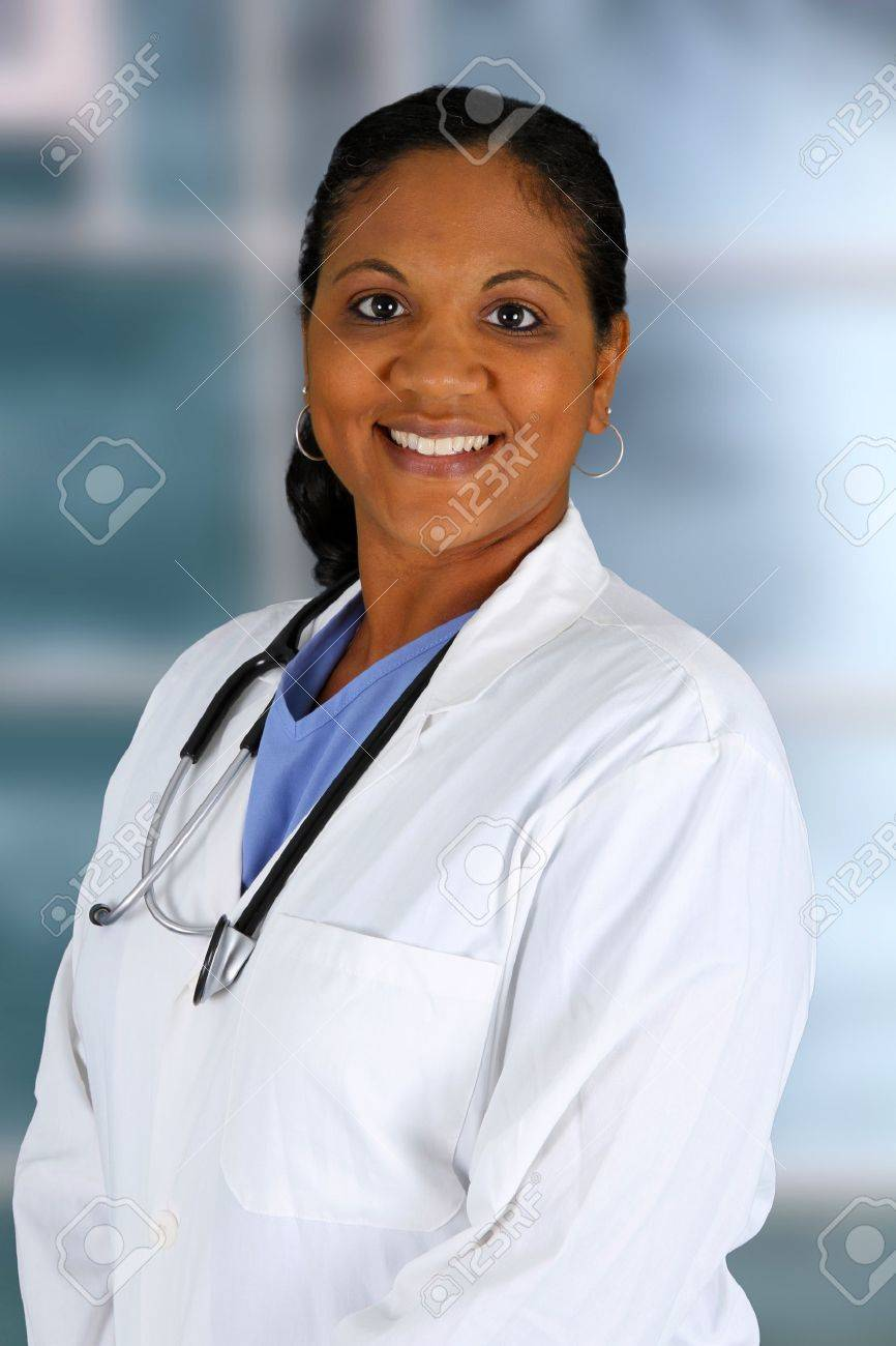 Minority doctor working at her job in a hospital Stock Photo - 14666156
