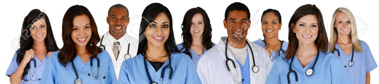 Group of doctors and nurses set on a white background Stock Photo - 26790557
