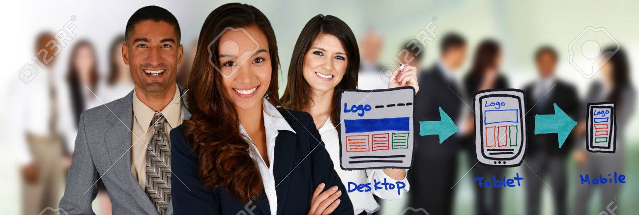 Team of people making a website together Stock Photo - 29857589