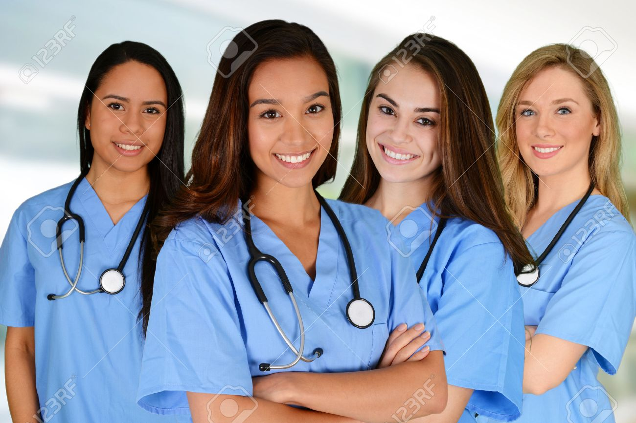 Group of nurses set in a hospital Stock Photo - 38730904