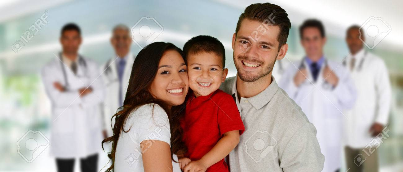 Group of doctors and a family set in a hospital Stock Photo - 41135920