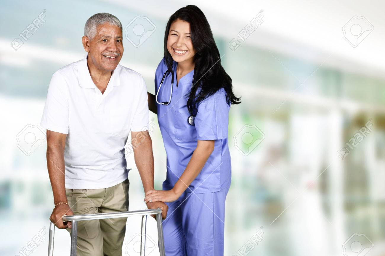 Health care worker helping an elderly man Stock Photo - 41956161