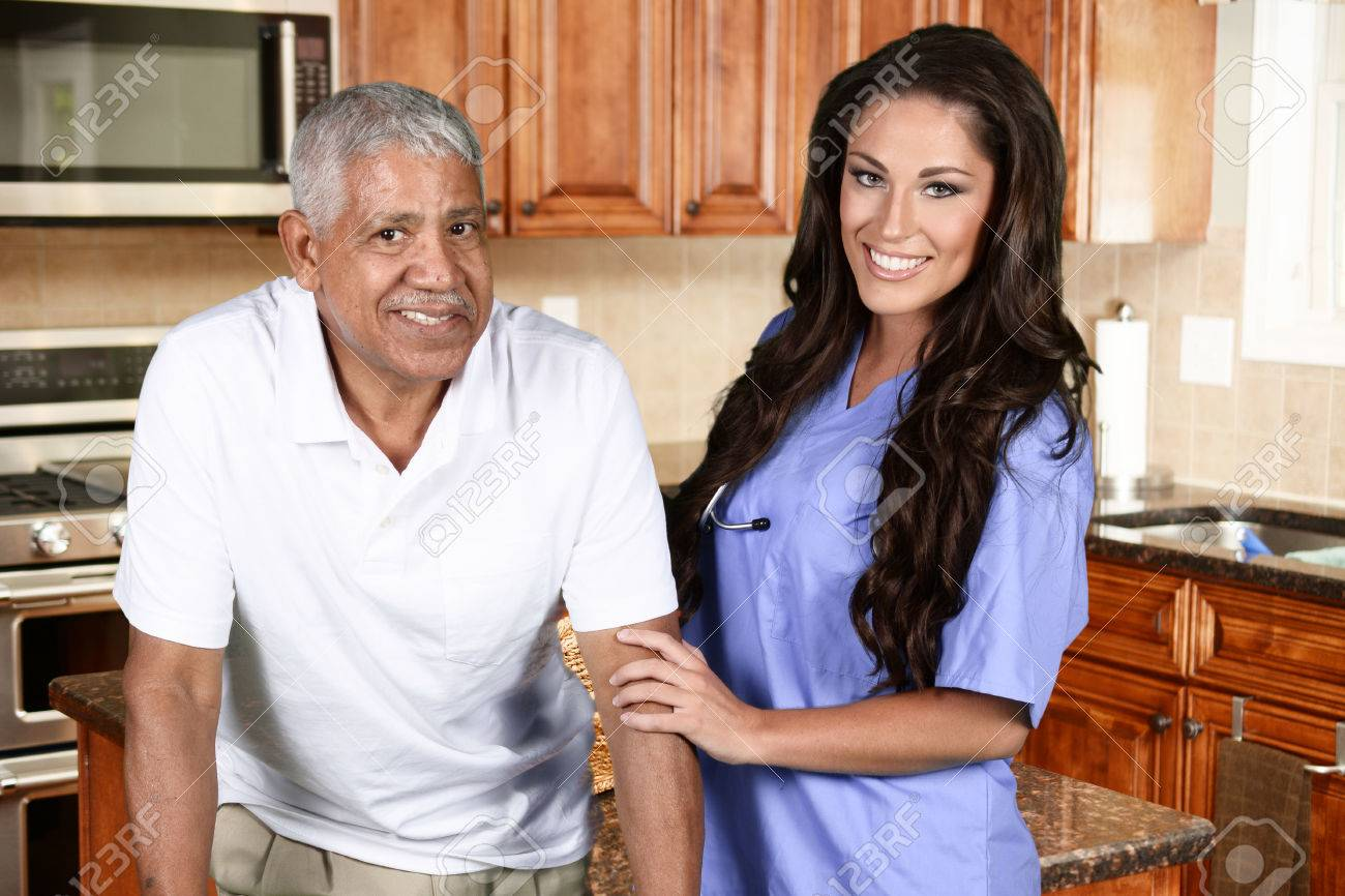 Home health care worker and an elderly man Stock Photo - 45930403