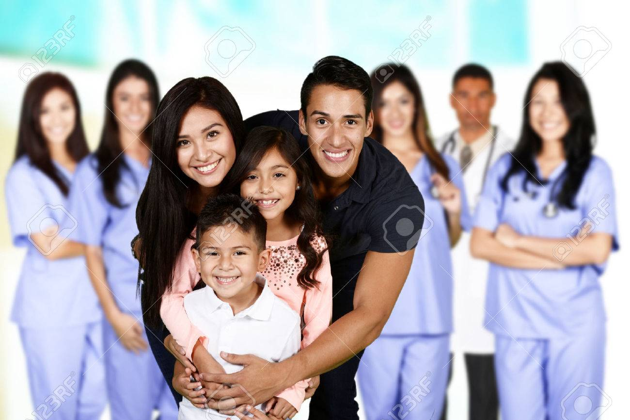 Family who are at the hospital waiting for care Stock Photo - 49543811