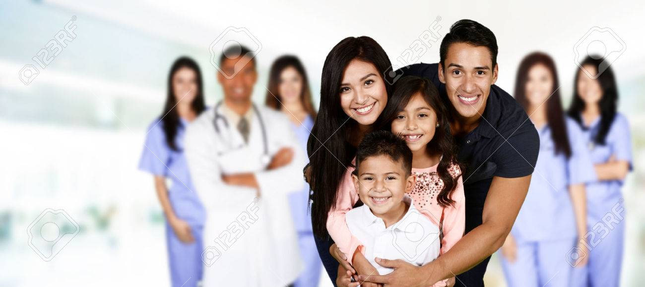 Family who are at the hospital waiting for care Stock Photo - 49543970