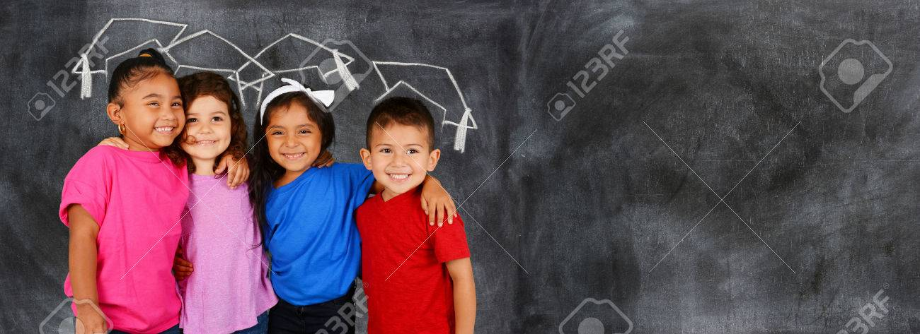 Group of happy young children who are at school Stock Photo - 50501293