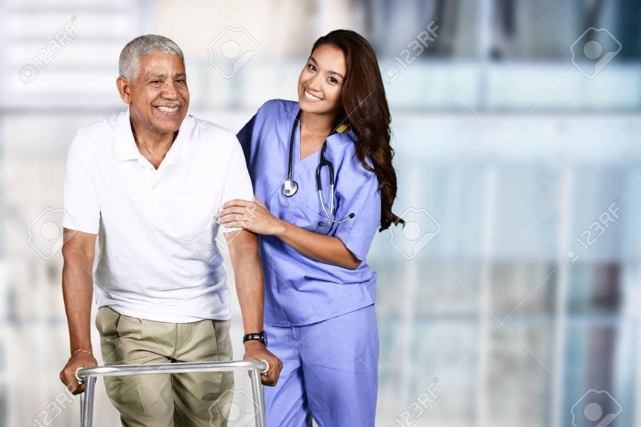 Nurse taking care of an elderly patient - 56307770