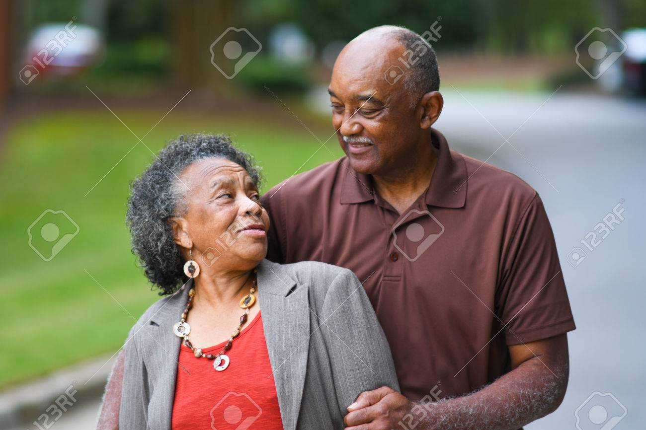 Elderly African American Man and woman posing together Stock Photo - 62452195