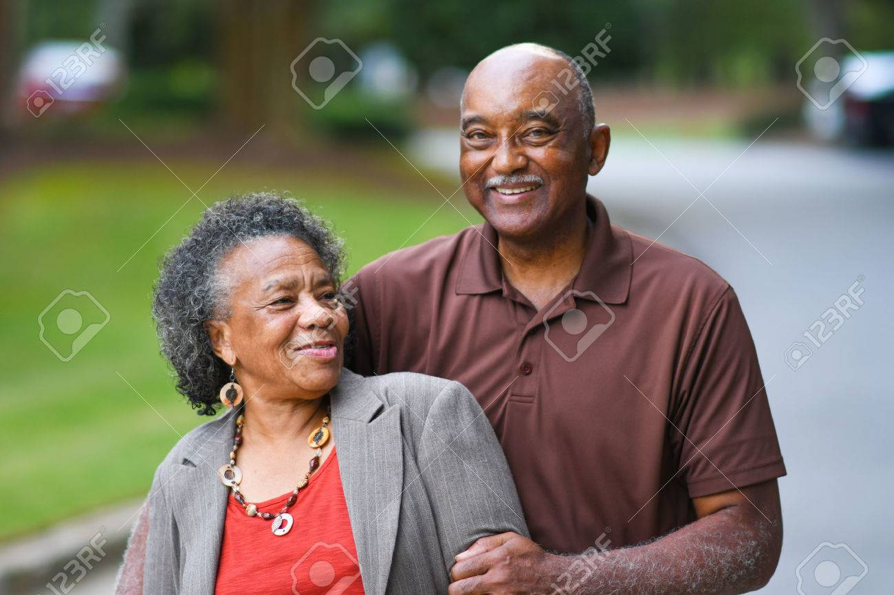 Elderly African American Man and woman posing together - 65416117