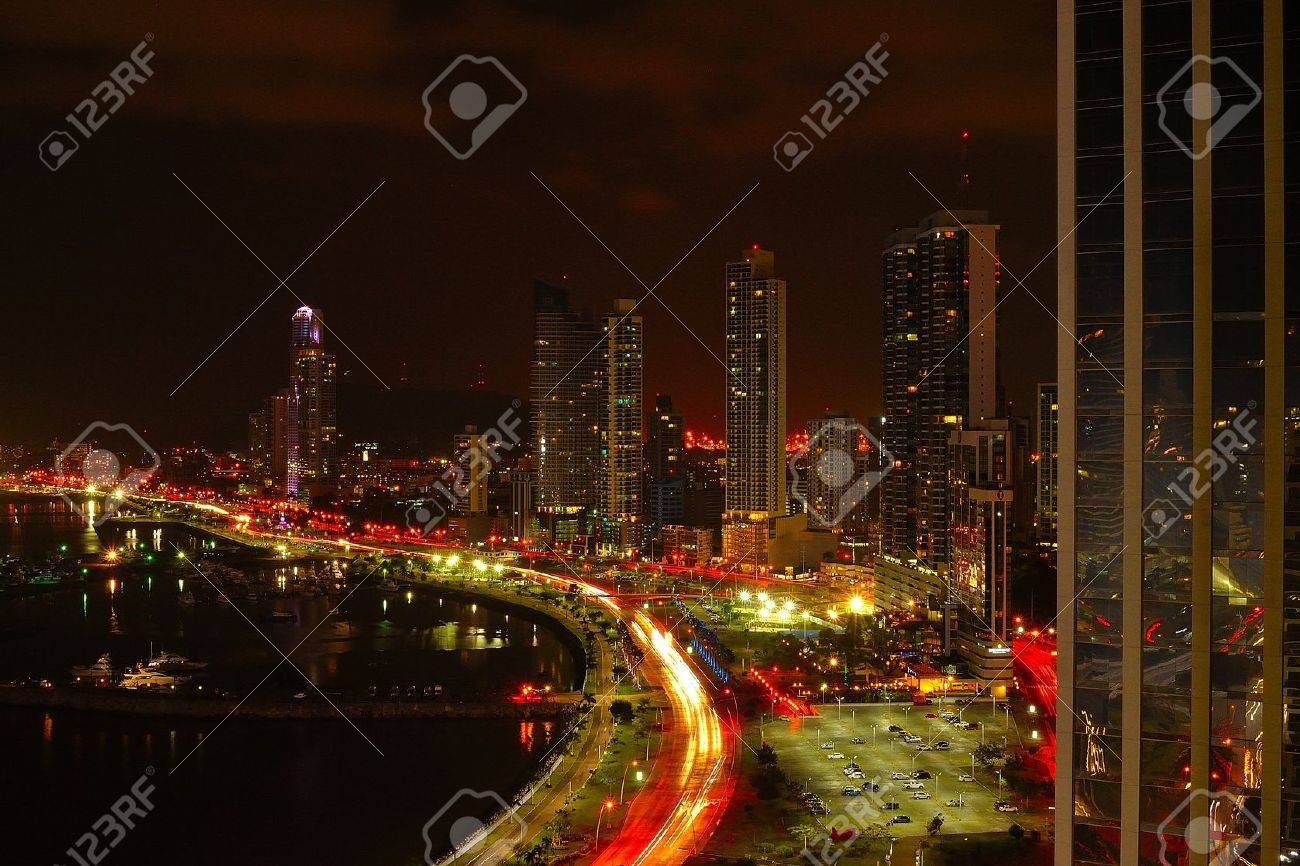 Financial district of Panama City at night - 36003111
