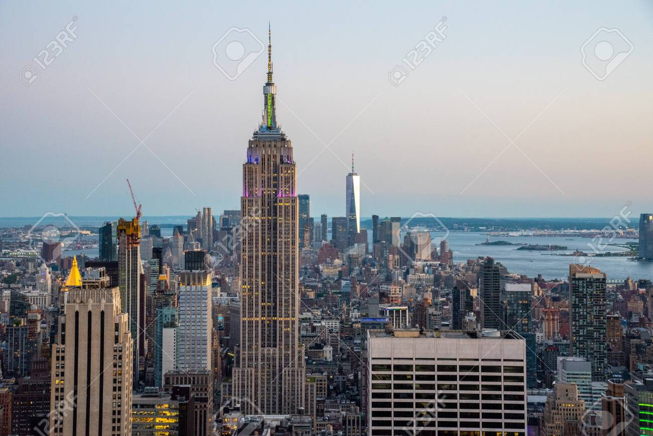 NYCs lower Manhattan with the Empire State Building from a high up point in Midtown during 2019 pride - 128749569