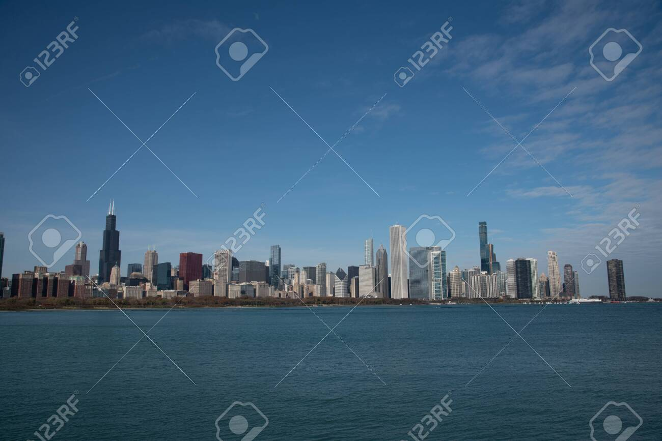 Downtown views of Chicago, the third most populated city in the US. - 144134781