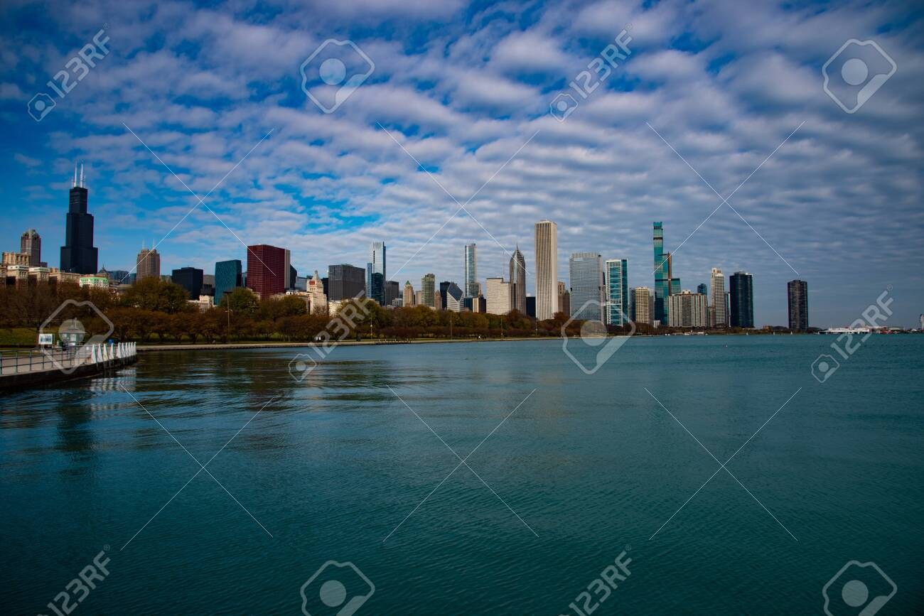 Downtown views of Chicago, the third most populated city in the US. - 144134803