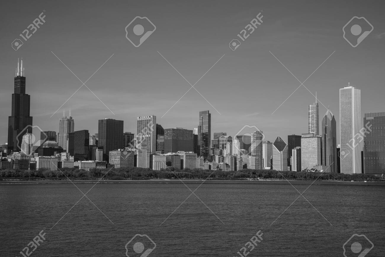 Downtown views of Chicago, the third most populated city in the US. - 144134811