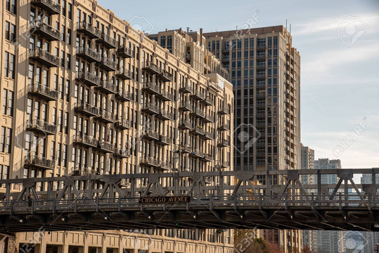 One of the many bridges that crosses the river in Chicago - 144135119