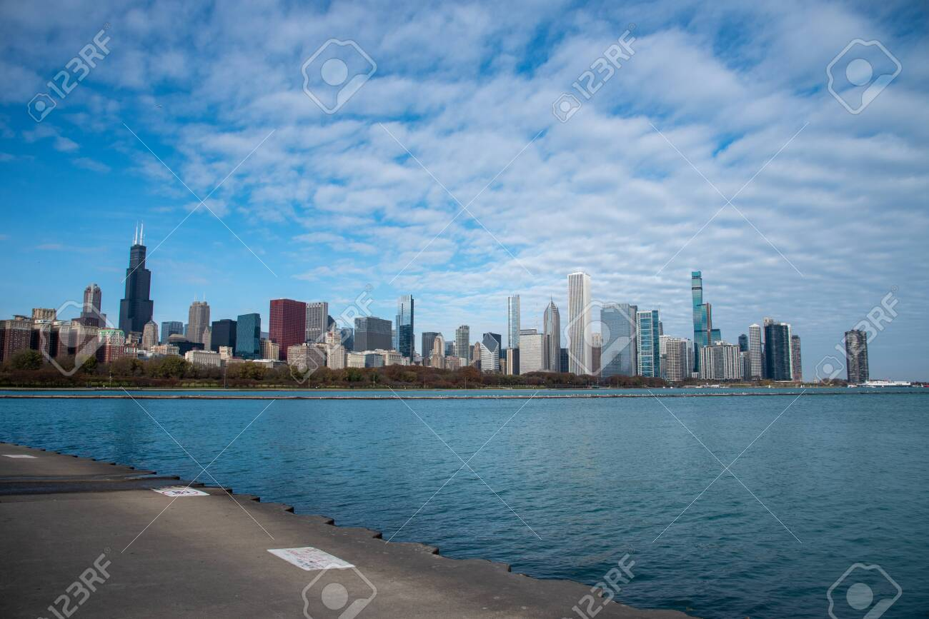 Downtown views of Chicago, the third most populated city in the US. - 144135123