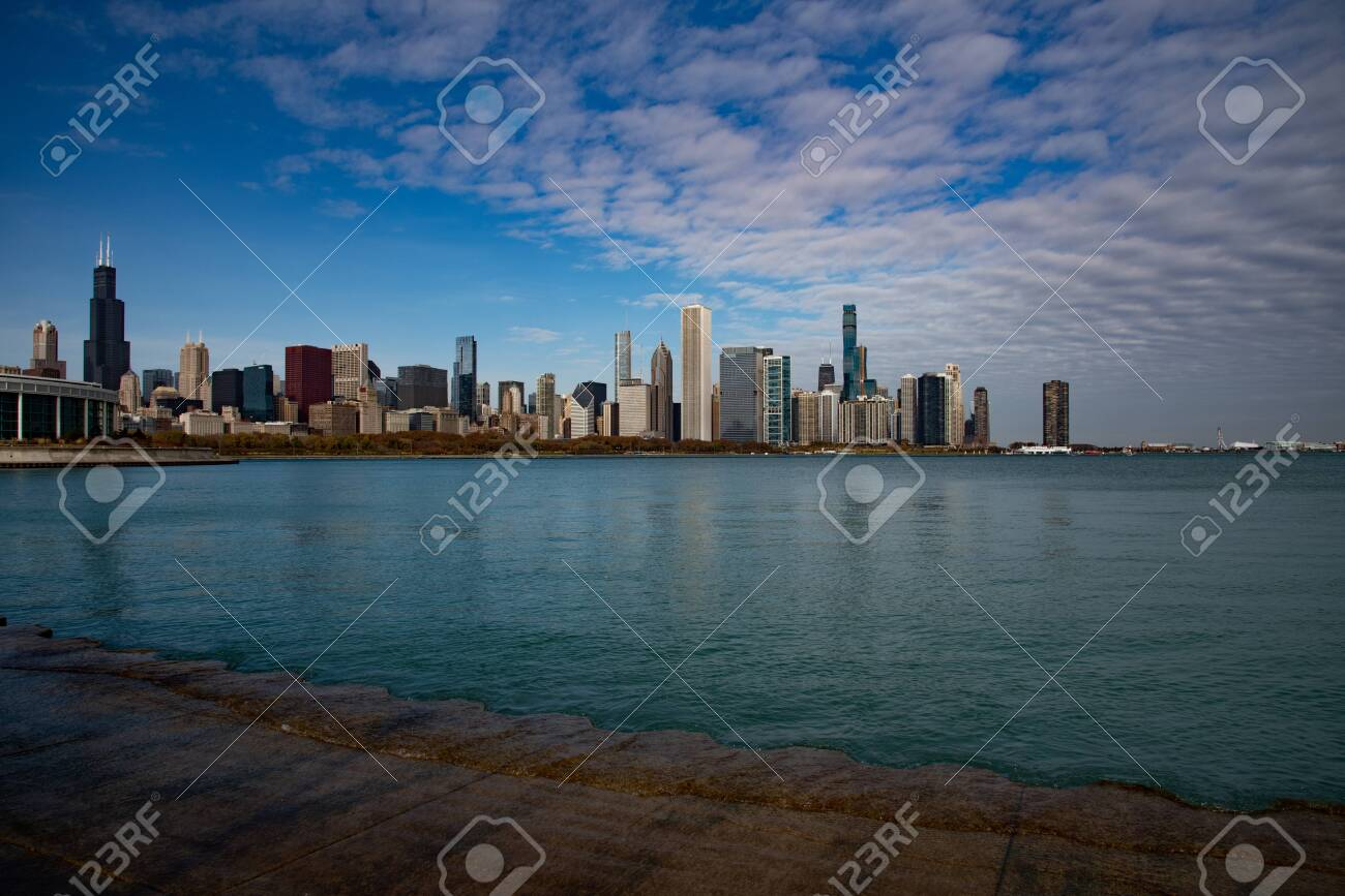 Downtown views of Chicago, the third most populated city in the US. - 144135128