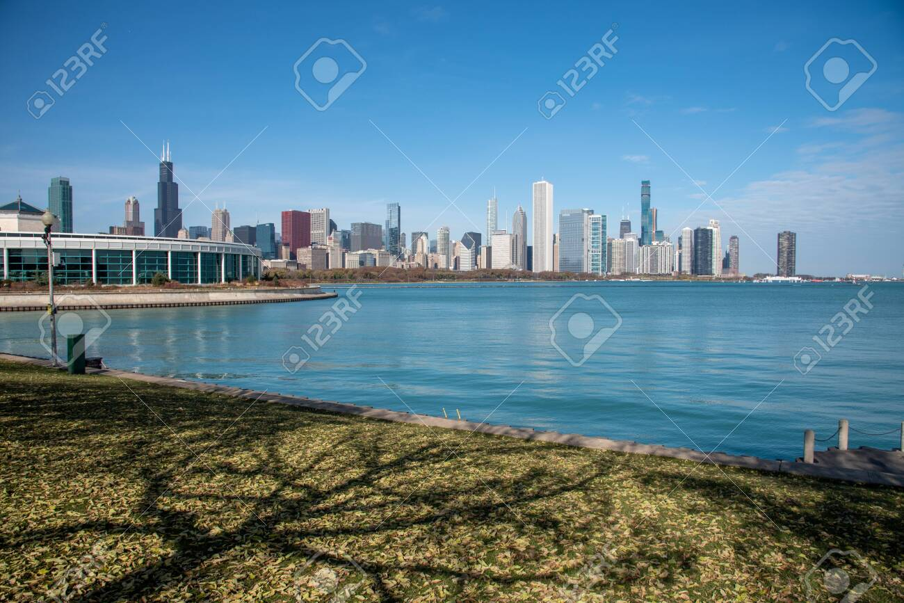 Downtown views of Chicago, the third most populated city in the US. - 144135182