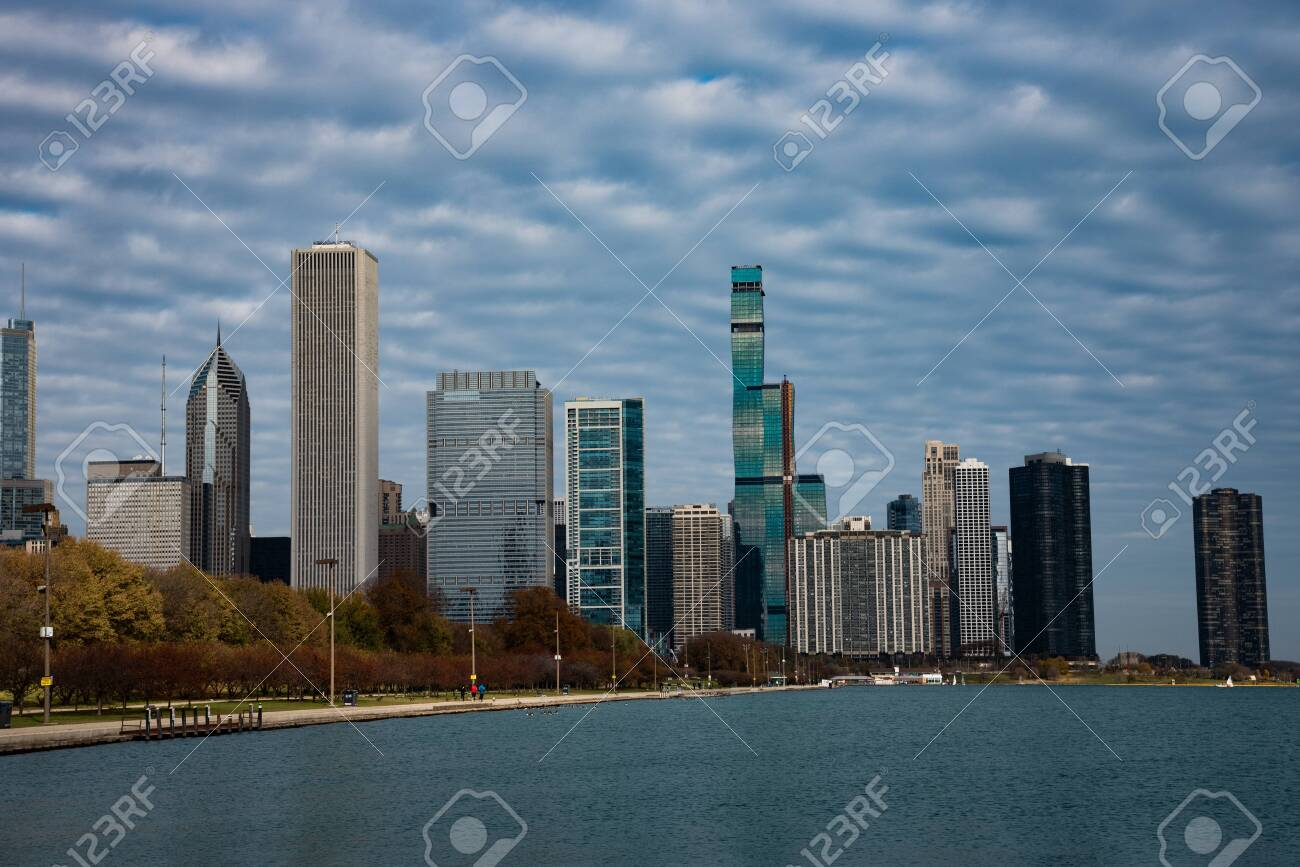 Downtown views of Chicago, the third most populated city in the US. - 144135864