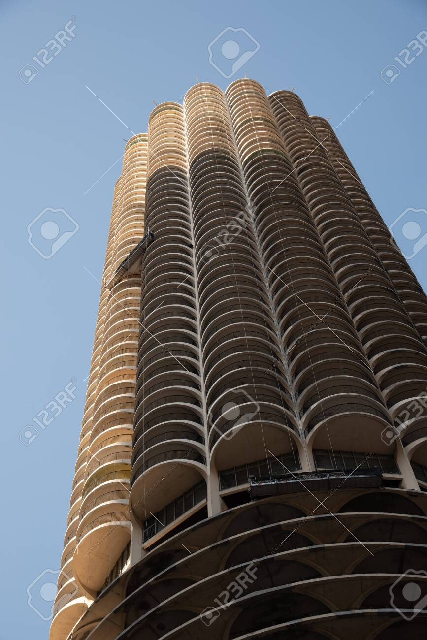 Chicago, IL, USA - November 9th 2019 - Chicago is known for its skyscrapers among which Marina City is one of the icons - 144185289