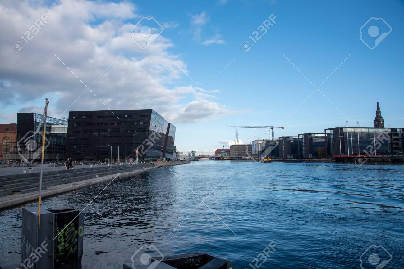 Views of the buildings beside the water in Copenhagen (DK) - 154537465