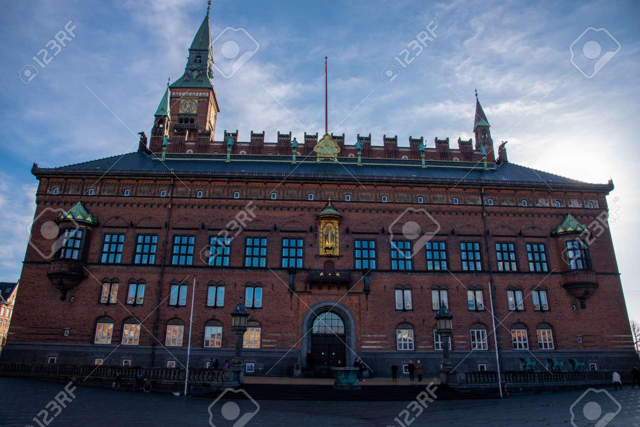 Facade of the city hall in Copenhagen (DK) - 154538875