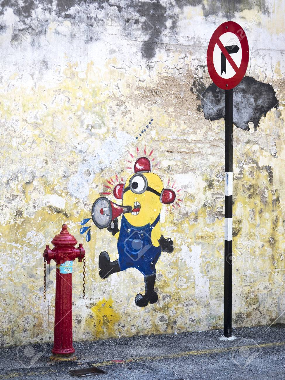 Graffiti Animation Street Art Painting Of Minion From Popular Animation Movie