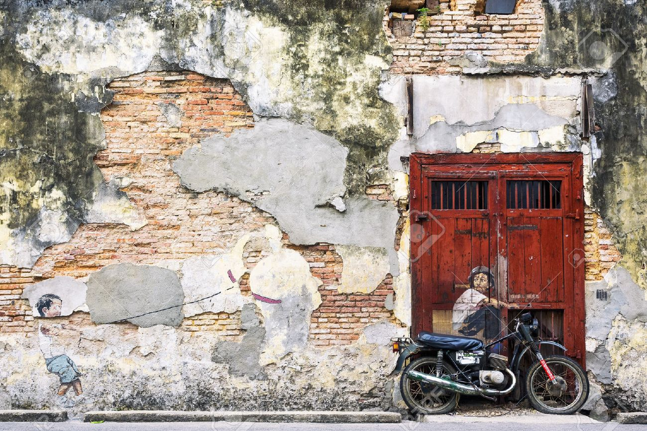wall mural stock photos pictures royalty free wall mural images wall mural boy on a bike art wall street in georgetown penang malaysia