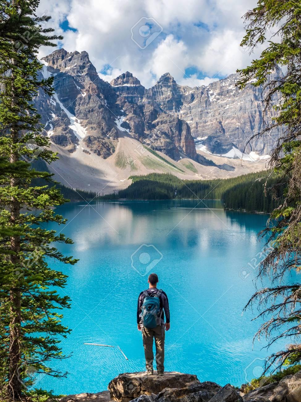 Hiker At Moraine Lake In Banff National Park Alberta Canada