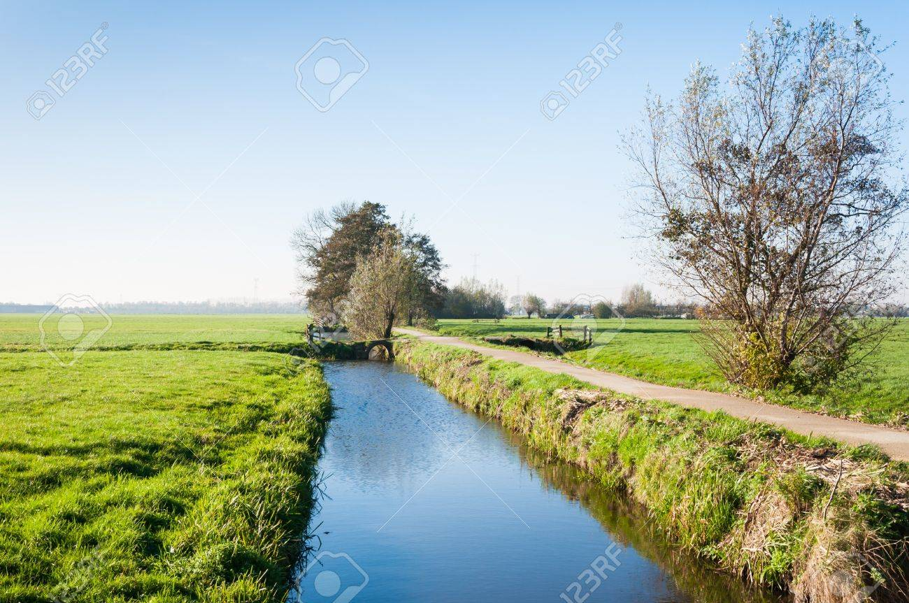 Rural polder landscape  in the Netherlands. it is autumn now. Stock Photo - 16409120