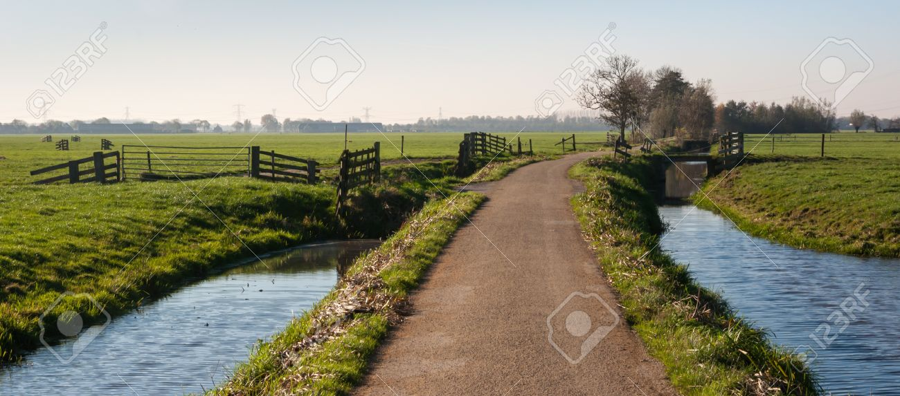 Rural polder landscape with a country road between two ditches and pastures with fences. It is autumn in the Netherlands. Stock Photo - 16409122
