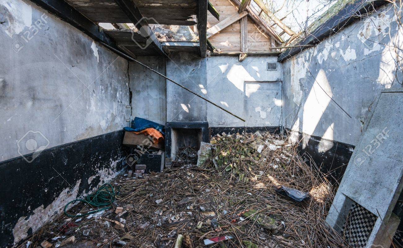Interior of an abandoned house with a collapsed roof. Stock Photo - 18786304