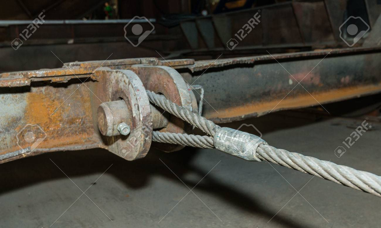 Closeup Of A Thick Steel Cable Powerful Pulling On A Heavy And ...
