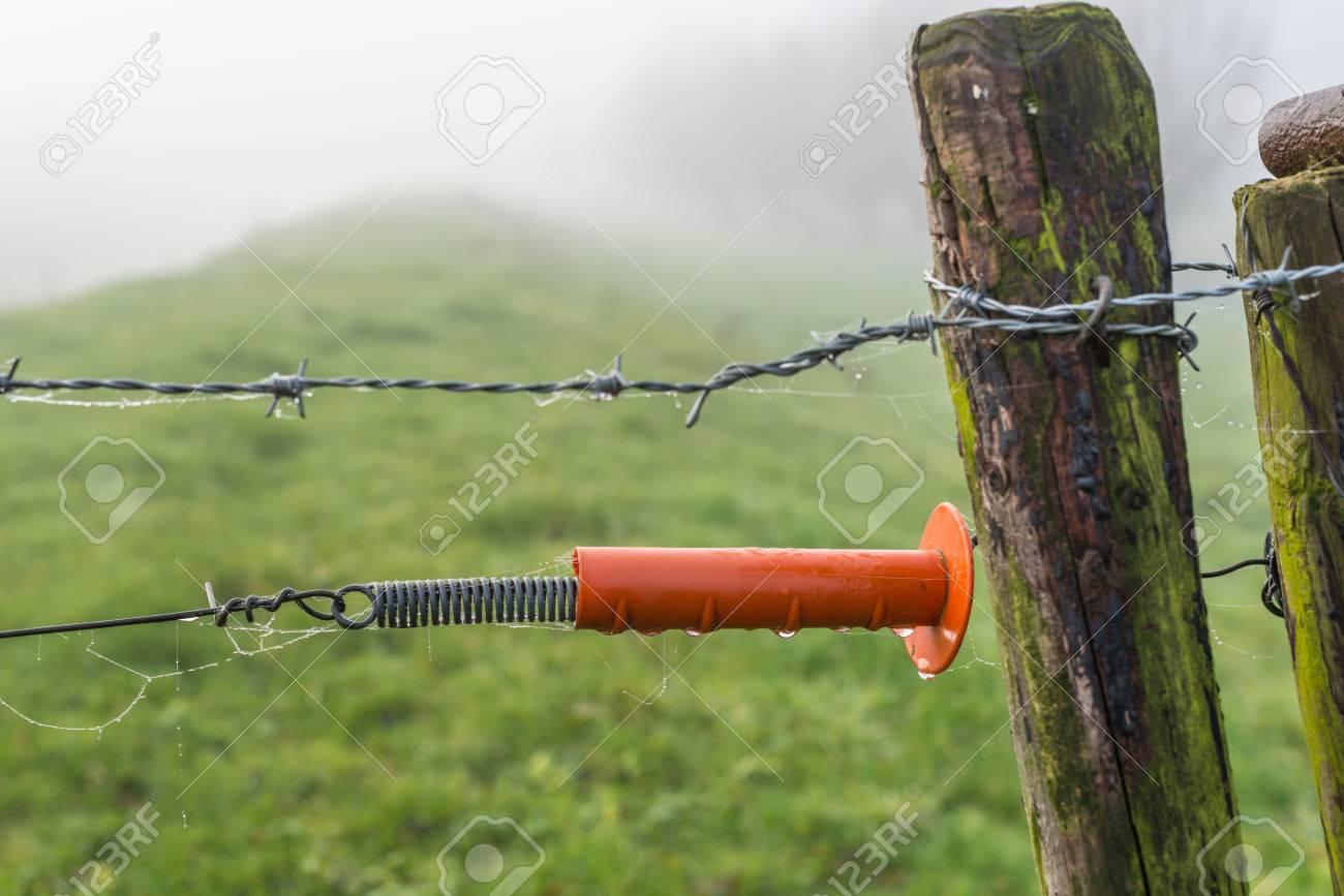 Nahaufnahme Einer Verwitterten Zaun Mit Holzstangen Und Eisendrahte