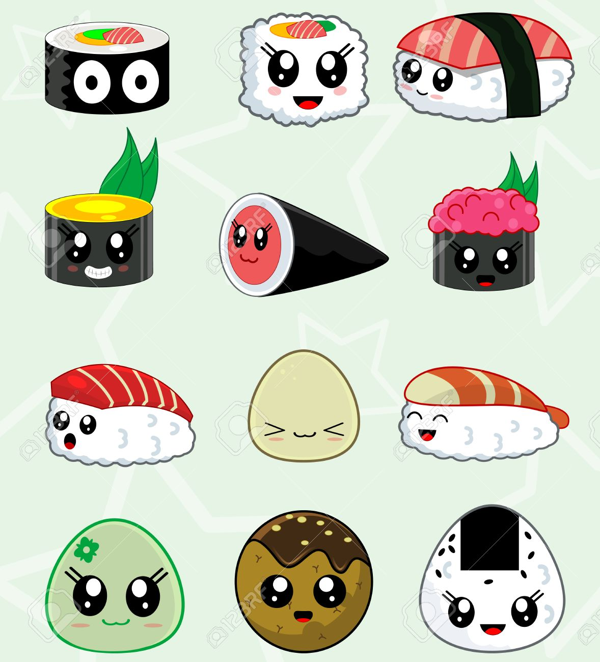 Cute Kawaii sushi set for restaurant menu. In set there are such..