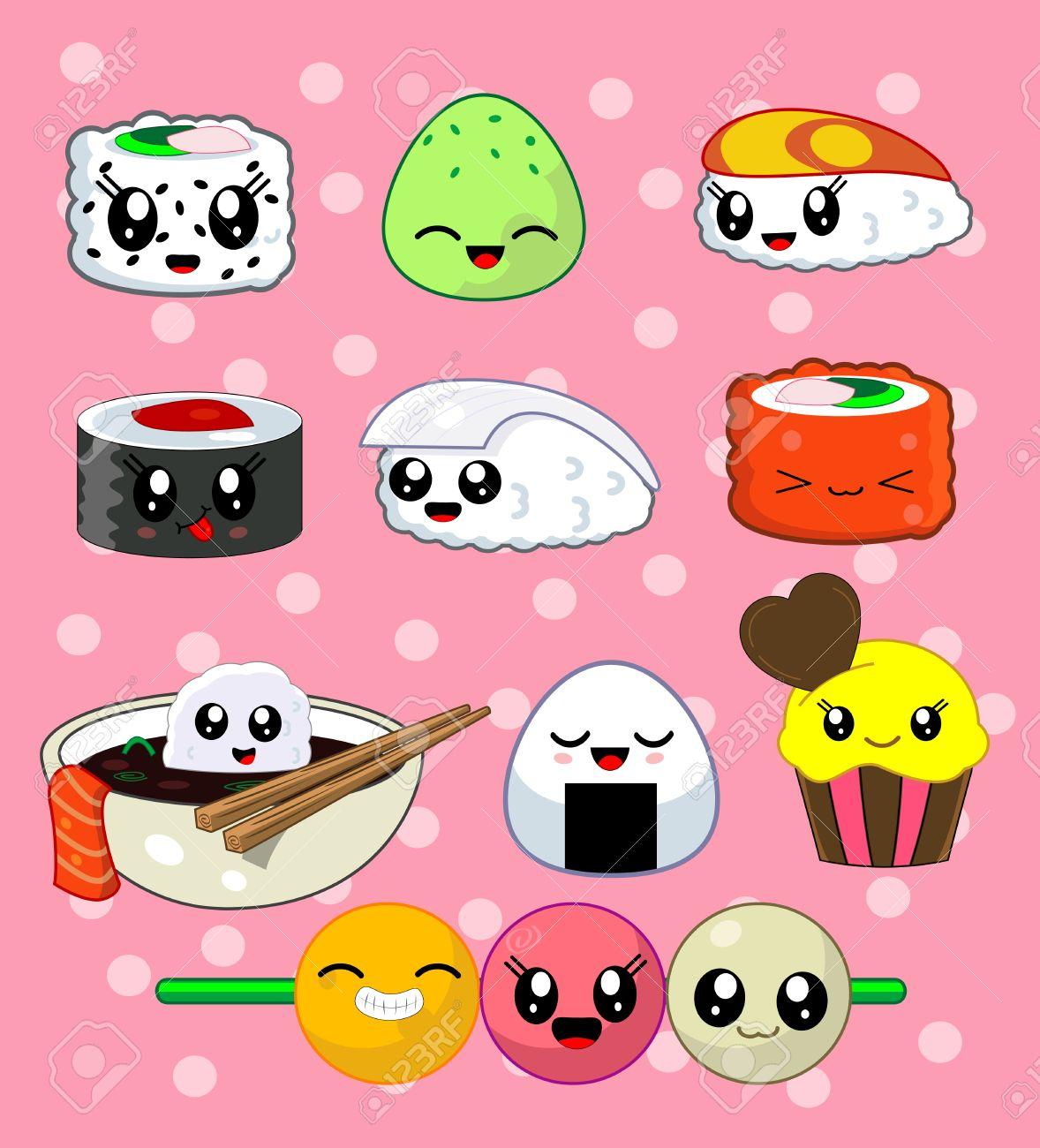 Uncategorized Cute Kawaii Food cute kawaii sushi with faces roll set cake california roll