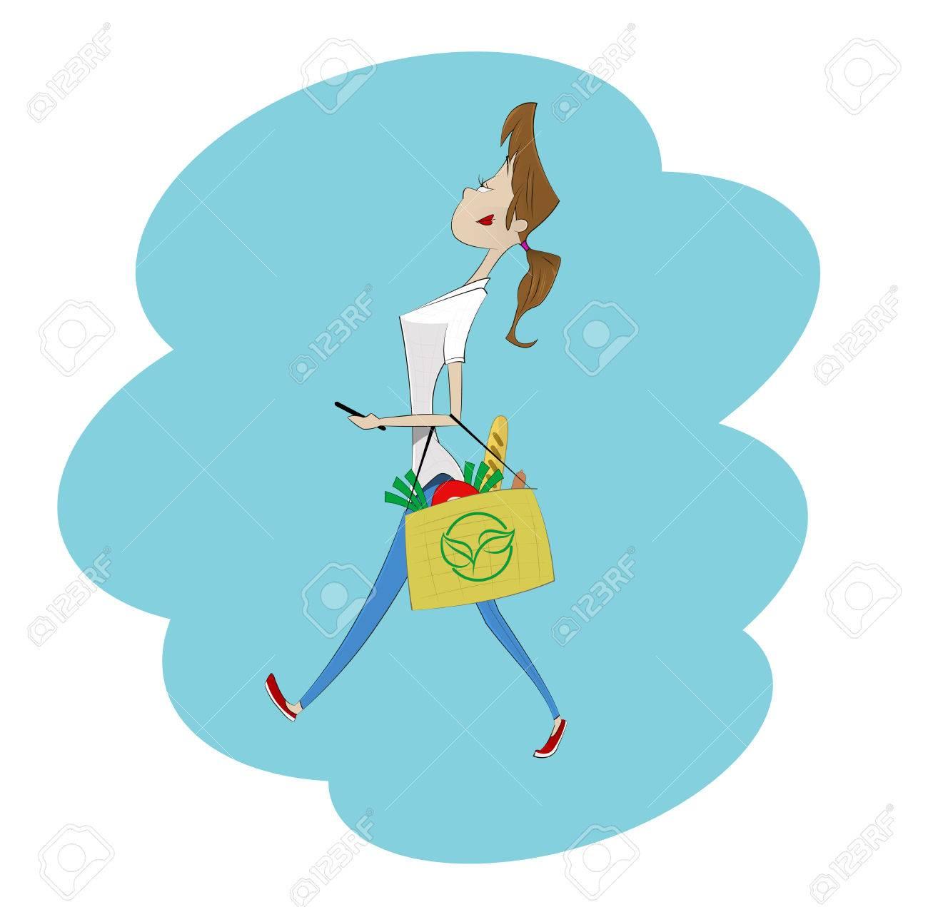 Niña De Dibujos Animados Llevando Bolsas De Papel De Las Tiendas De