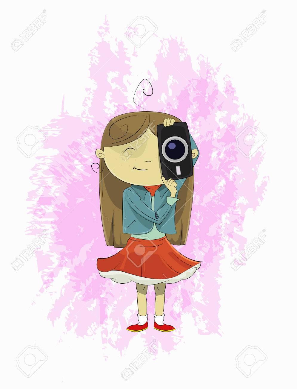 cute cartoon girl holding camera. girl photographer making photo