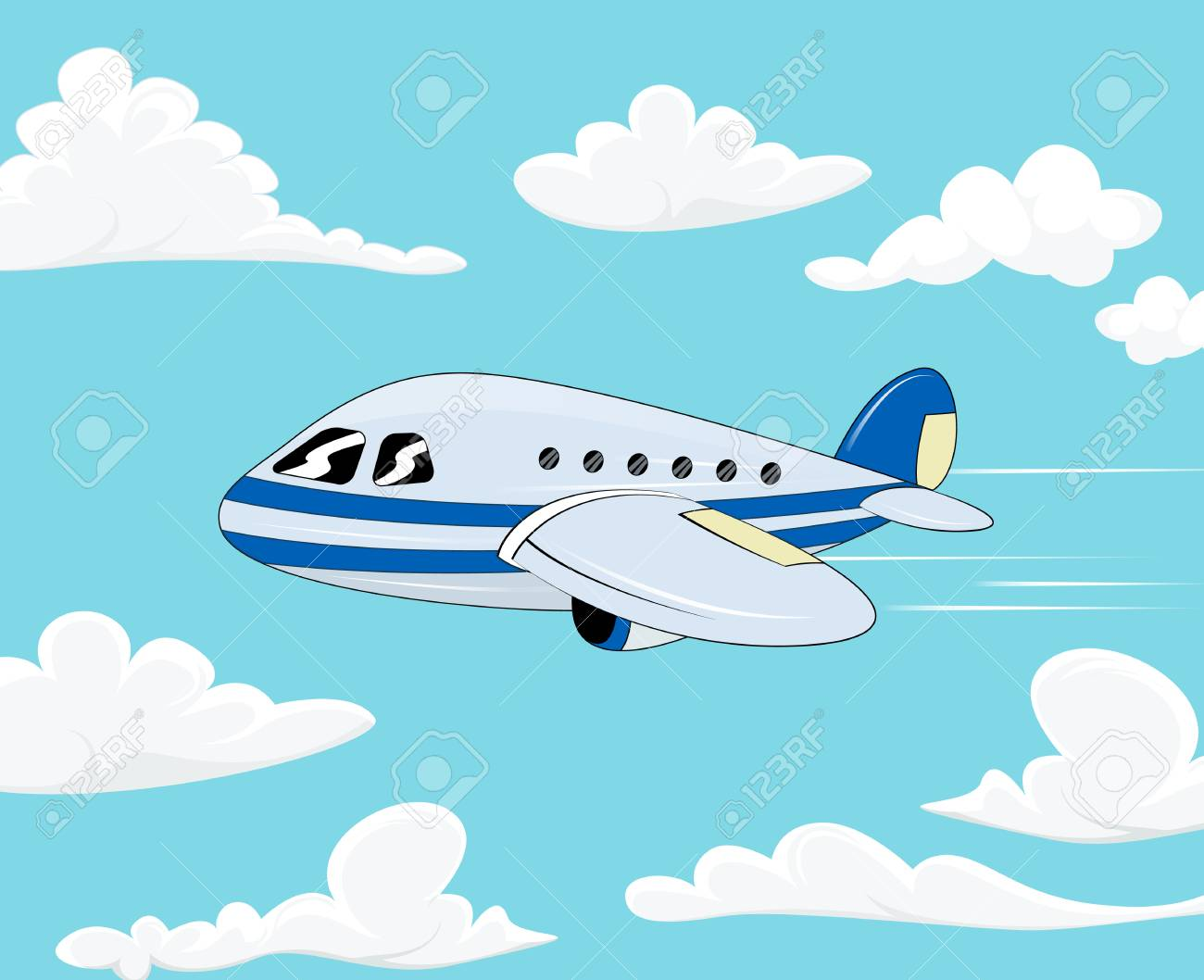 Flight Of The Plane In The Cloudy Sky Cartoon Passenger Airplane
