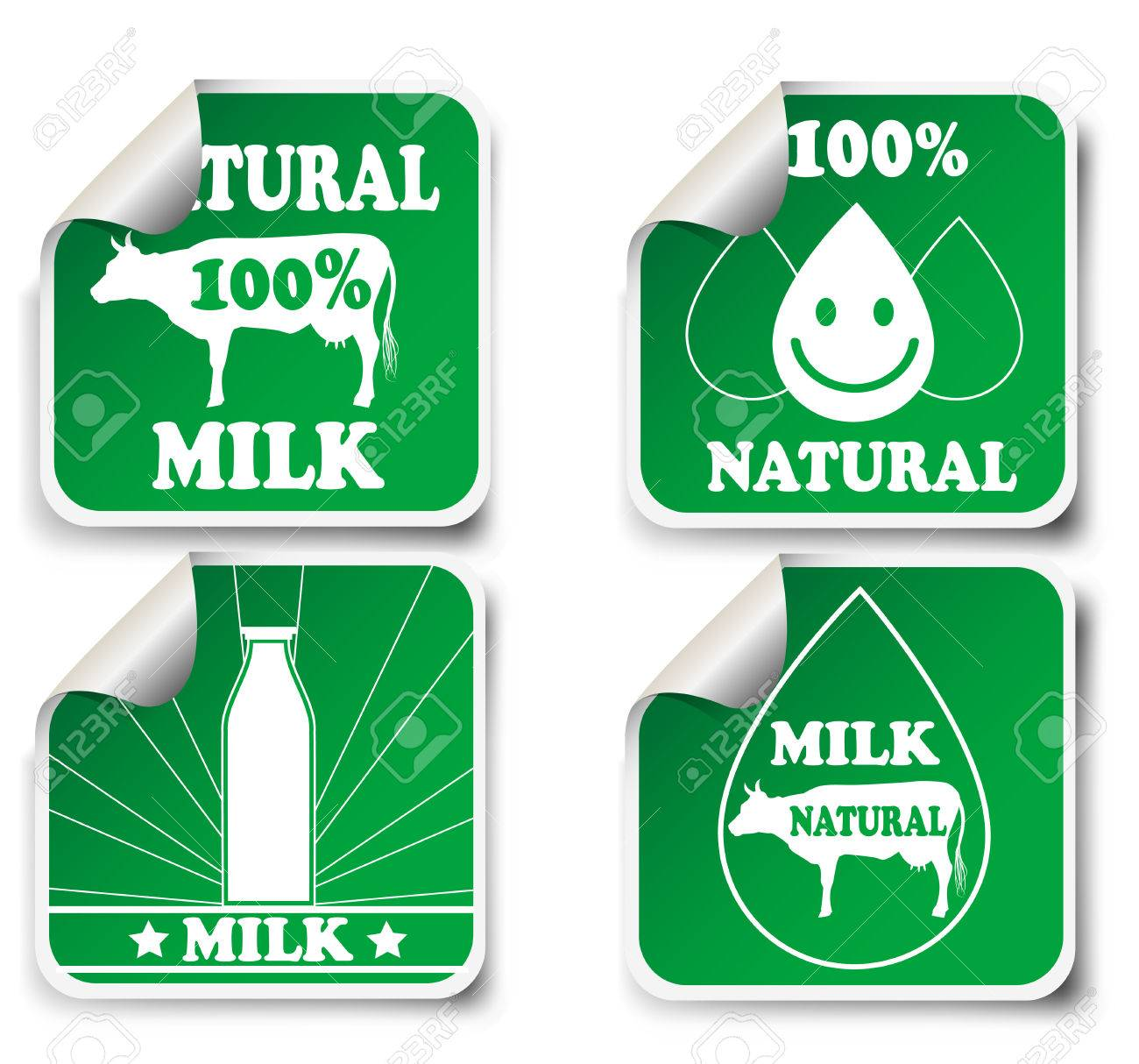 Four natural milk product stickers organic food symbols vector
