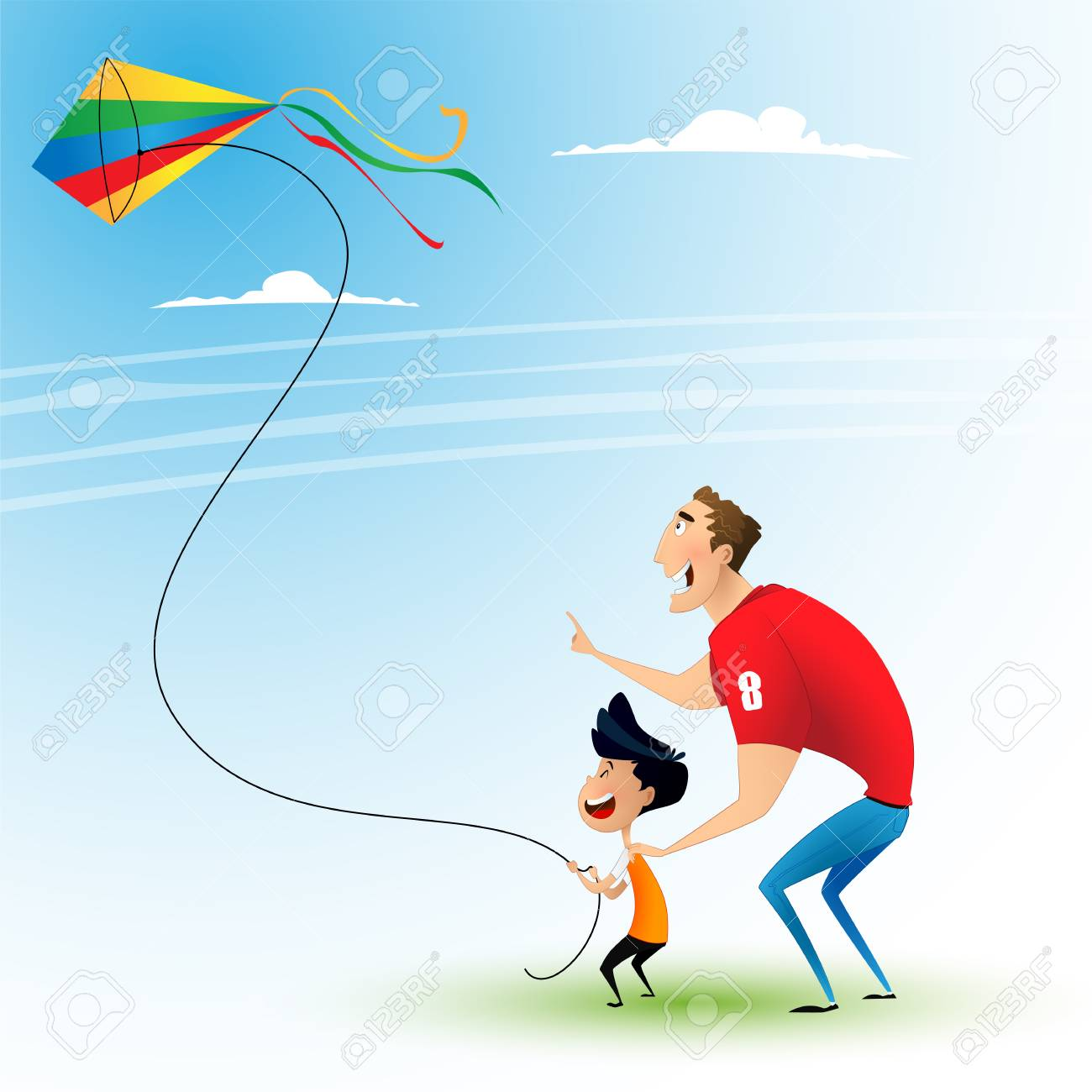 Image result for father and son kite flying cartoon image
